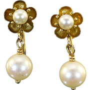 Vintage 14 Kt gold and Akoya pearl dangle earrings