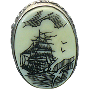 Sterling  Hand Carved Scrimshaw ring