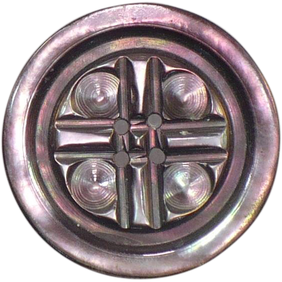 Vintage Abalone carved button 31 mm