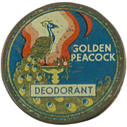 Vintage Golden Peacock Deodorant tin