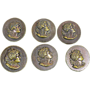 Six brass Eingetr Muster Buttons