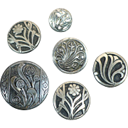 Vintage lot 6 silver tone flower button