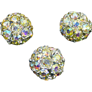 Three Vintage Rhinestone crystal buttons