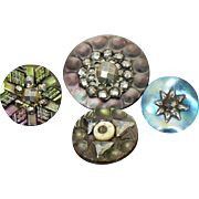 Vintage Mother of pearl and steel bright cut fancy buttons