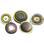 Five Vintage fancy Mother of pearl buttons
