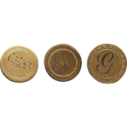Three Victorian hand engraved buttons