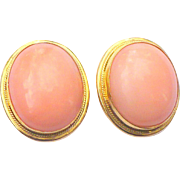 Vintage 18 kt gold Angel Skin coral earrings