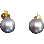 Vintage 14 Karat gold 8.5 mm Black Akoya pearl stud earrings