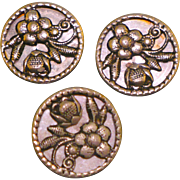 Vintage set of 3 flower mirror back buttons