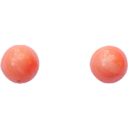 Vintage 5 mm coral ball earrings