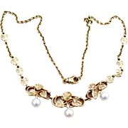 Vintage 14 karat gold and pearl necklace