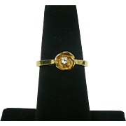 Vintage 14 karat gold and diamond rose ring