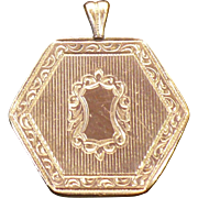 Victorian rolled gold hexagon pendant