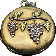 Victorian rolled gold grape motif locket