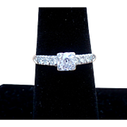 Vintage Platinum and Diamond ring with a European center diamond
