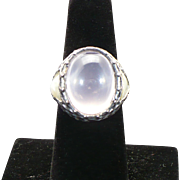 Sterling Rose quartz and Mother of pearl ring