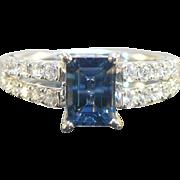 Natural Sapphire and Diamond 14 karat white gold ring.