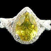 3.20 carat Chrysoberyl and diamonds in 14 karat white gold