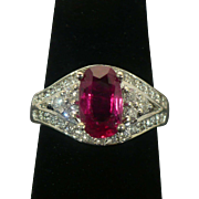 1.37 Ct Ruby and diamond 14 karat white gold ring