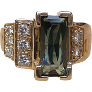 Vintage custom made Tourmaline and diamond 14 karat gold ring