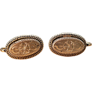 Vintage long oval Victorian Style earrings