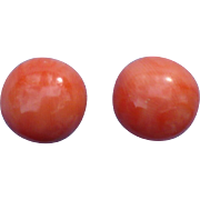 11 MM Coral 14 karat gold stud earrings