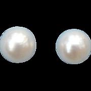 Vintage 6 mm Cultured Akoya pearl earrings 14 karat gold