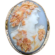 Victorian 14 karat gold and hand carved shell cameo