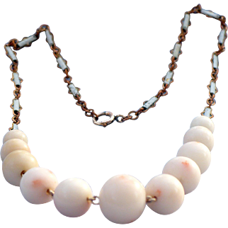Vintage Coral bead and enameled chain necklace
