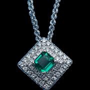 Fine Muzo untreated emerald and diamond pendant 14 karat white gold