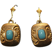 Vintage rolled gold engraved turquoise earrings