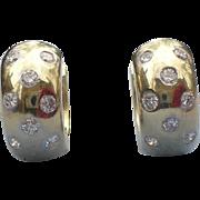 Vintage 14 karat gold and diamond huggie earrings .50 CTW