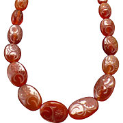 Victorian carved oval bead carnelian necklace