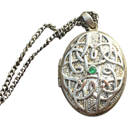 Celtic knot locket with chain