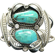 Vintage double Turquoise and sterling silver Navajo unsigned cuff bracelet