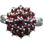 Vintage adjustable shank Bohemian garnet ring