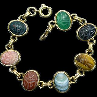 Vintage Scarab stone bracelet 7.5 inches