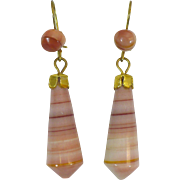 Victorian banded agate carved earring