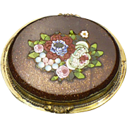 Victorian micro mosaic in goldstone brooch in 14 karat rolled gold