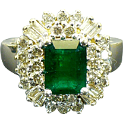 Vintage 14 karat gold Natural Emerald and diamond ring Circa 1985