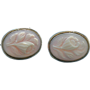 Victorian style Queen conch cameo earrings in 800 silver