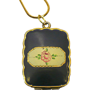 Vintage Victorian style black enamel locket with 26 inch chain