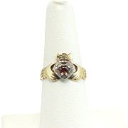 9 KT Garnet and diamond claddagh ring Irish made