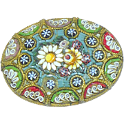 "Vintage Oval Micro mosaic brooch stamped ""Italy"""