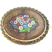 Antique brooch/pendant  Pietra dura with micro mosaic flowers set in gold stone
