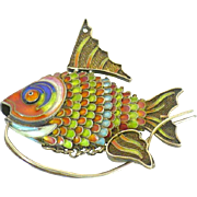 Vintage Chinese cloisonne fish pendant articulated