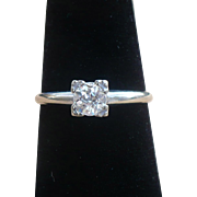Vintage European Diamond solitaire in 14 Kt white gold