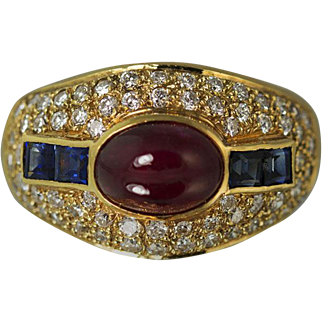 18K Ruby and Sapphire Ring