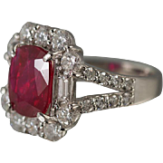 Unheated Mozambique Ruby Ring