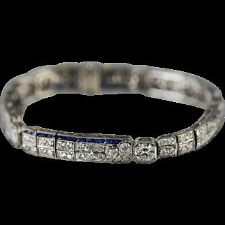 Platinum Art Deco Sapphire & Diamond Bracelet, Circa 1930